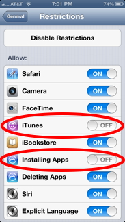 Disable iTunes and Apps