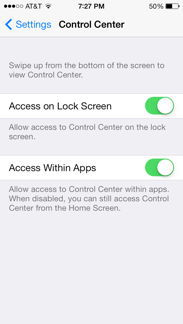 Control Center Settings