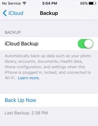 Enable iCloud Backup