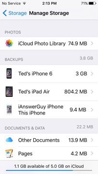 iCloud Storage Usage