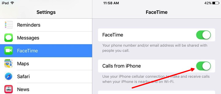 Calls from iPhone on iPad