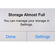 Storage Full Message