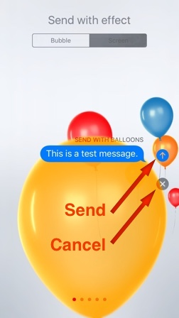 Send or Cancel Screen Effect
