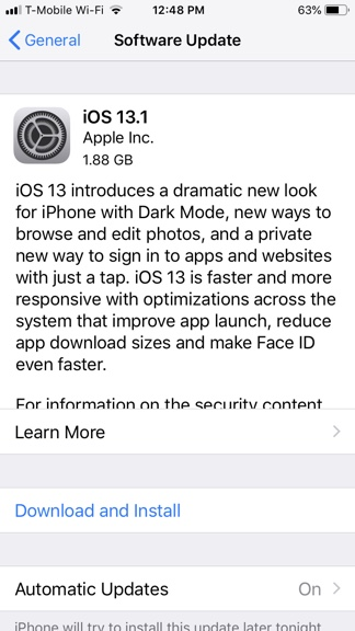 iOS 13 Install Window
