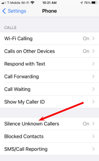 Silence Unknown Caller